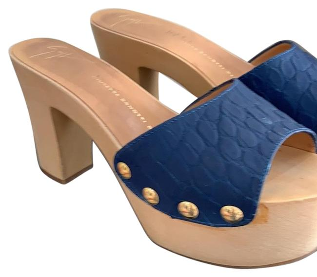 Item - Blue with Nude Mules/Slides Size US 7.5 Regular (M, B)