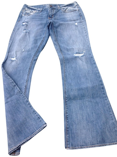 Item - Blue Distressed Destroyed Boot Cut Jeans Size 29 (6, M)