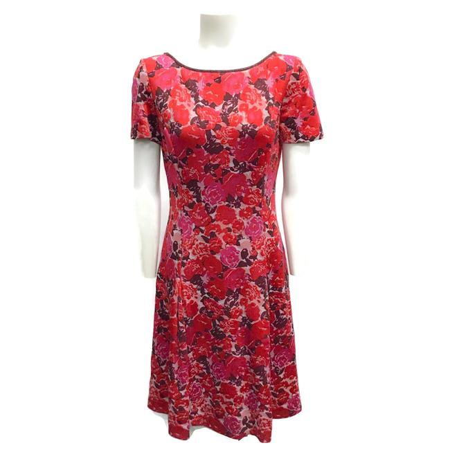 Item - Red/Pink Short Sleeve Cocktail Dress Size 6 (S)