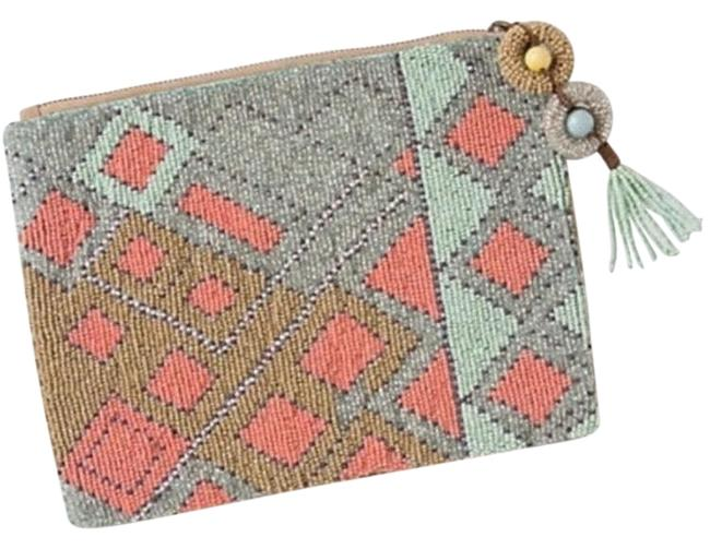Item - Jasper & Jeera Green Pink and Gold Beaded Clutch