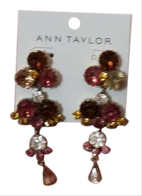 Item - Multicolor Faceted Stone Pink Brown Clear Stones Earrings