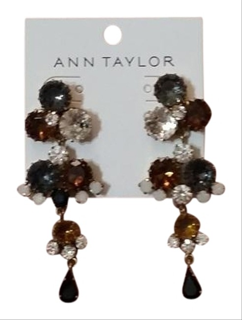 Item - Multicolor Faceted Stone Gray Brown Clear Stones Earrings