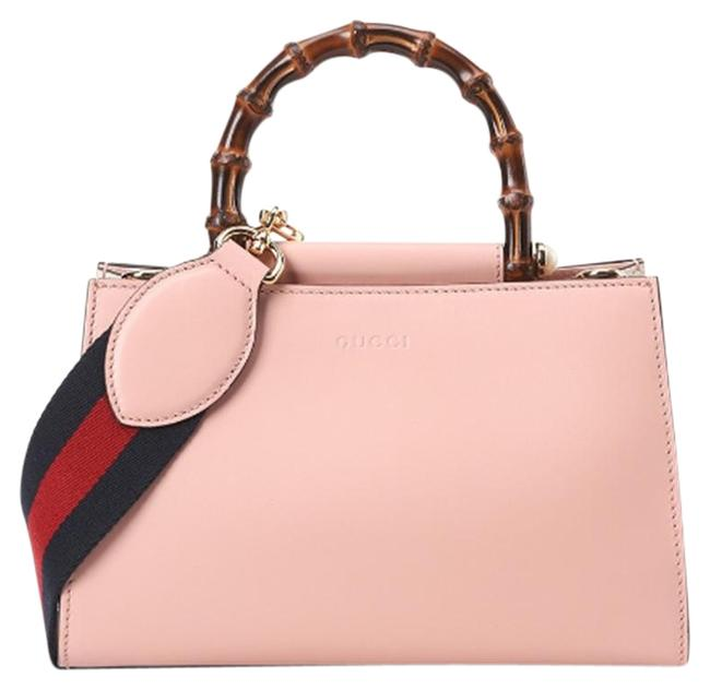 Item - Nymphaea New Bamboo Top Handle Pink Leather Shoulder Bag