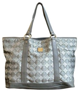 MCM Diamond Leather Oversized Tote in Gray