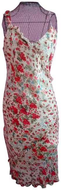Item - Red Multi Floral Silk Sundress with Ruffled Trim Mid-length Casual Maxi Dress Size 12 (L)