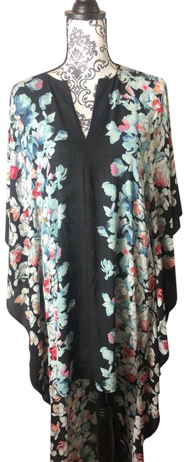 Item - Black with Whit Pink Peach Blue and Green Floral Design Kimono Style Shirt/Dress Tunic Size 8 (M)