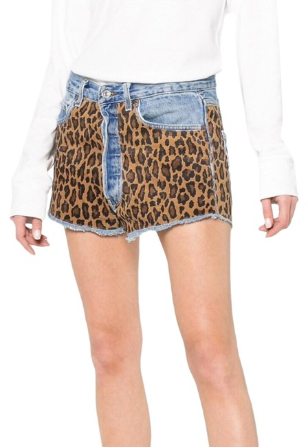 Item - Blue Brown Yellow 38 Made In France Leopard Bramble Suede Shorts Size 6 (S, 28)