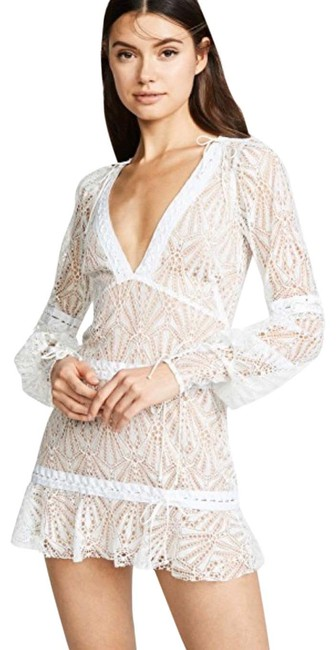 Item - White Lace V Neck Night-out Short Cocktail Dress Size 8 (M)