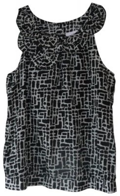 Preload https://img-static.tradesy.com/item/26249/ann-taylor-loft-black-and-white-delicate-ruffle-sleeveless-summer-handwash-only-70-cotton-30-silk-bl-0-0-650-650.jpg