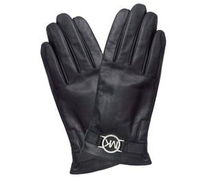 Michael Kors Leather Gloves With Mk Circle Logo