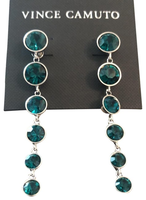 Item - Green/Emerald Round Crystal Links Drops Earrings