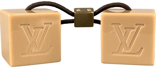 Item - Gold Tone Taupe Monogram Engraved Cubes Tie Hair Accessory