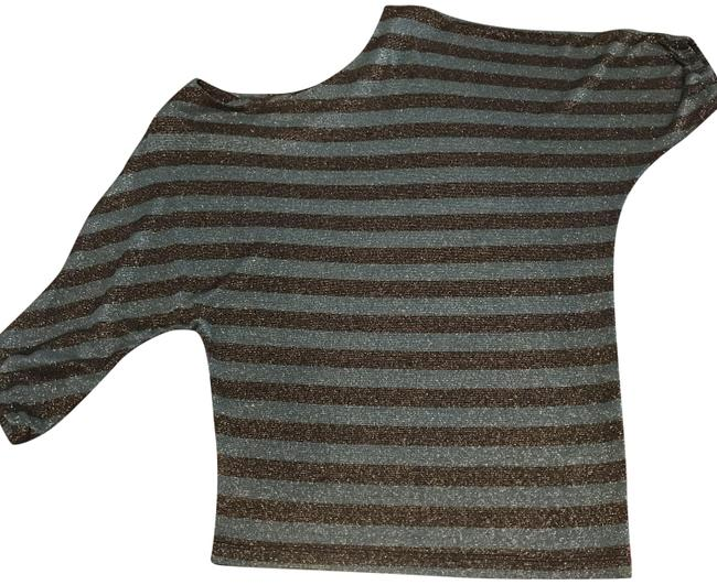 Item - 3/4 Sleeve Shimmer Green and Black Stripe Top
