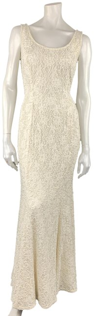 Item - Cream Beaded Lace Overlay Sleeveless Gown Long Formal Dress Size 4 (S)