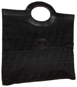 Fendi Rare Early Mint Condition Runaway Tote/Clutch Canvas/Leather Tote in black Zucca print
