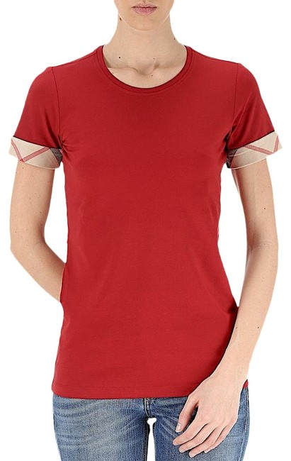 Preload https://img-static.tradesy.com/item/26249884/burberry-red-with-tag-women-s-check-cuff-stretch-cotton-t-shirt-lacquer-tee-shirt-size-10-m-0-1-650-650.jpg