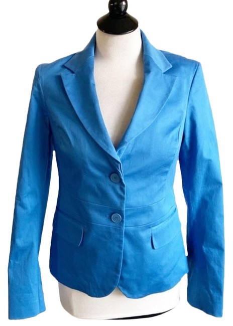 New York & Company Blue Two Button Faux Pocket Jacket Blazer Size 6 (S) New York & Company Blue Two Button Faux Pocket Jacket Blazer Size 6 (S) Image 1