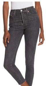 Levi's Wedgie Denim Black Frayed Skinny Jeans