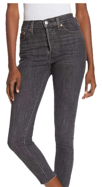 Levi's Wedgie Denim Black Frayed Skinny Jeans Image 0
