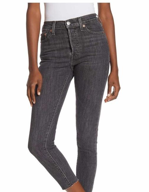 Levi's Wedgie Denim Black Frayed Skinny Jeans Image 2
