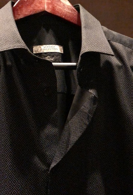Versace Collection Button Down Shirt black and gray Image 6