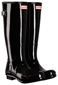 Hunter Glossy Tall Rubber Black Boots