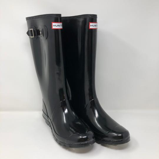 Hunter Glossy Tall Rubber Black Boots Image 1