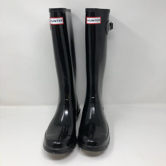 Hunter Glossy Tall Rubber Black Boots Image 2