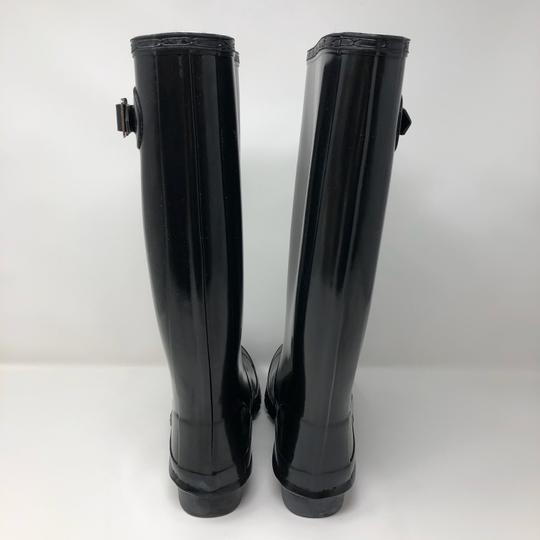 Hunter Glossy Tall Rubber Black Boots Image 3