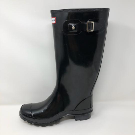 Hunter Glossy Tall Rubber Black Boots Image 4