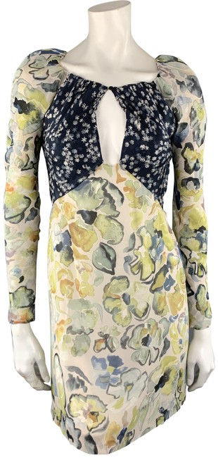 Preload https://img-static.tradesy.com/item/26249992/chloe-yellow-and-navy-floral-print-silk-mid-length-cocktail-dress-size-2-xs-0-1-650-650.jpg