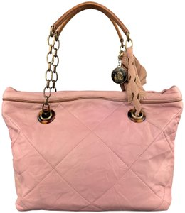 Lanvin Leather Grommets Italy Tote in Pink
