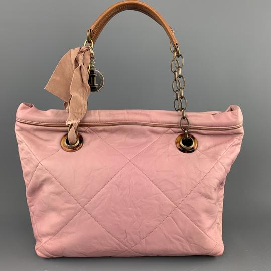 Lanvin Leather Grommets Italy Tote in Pink Image 3