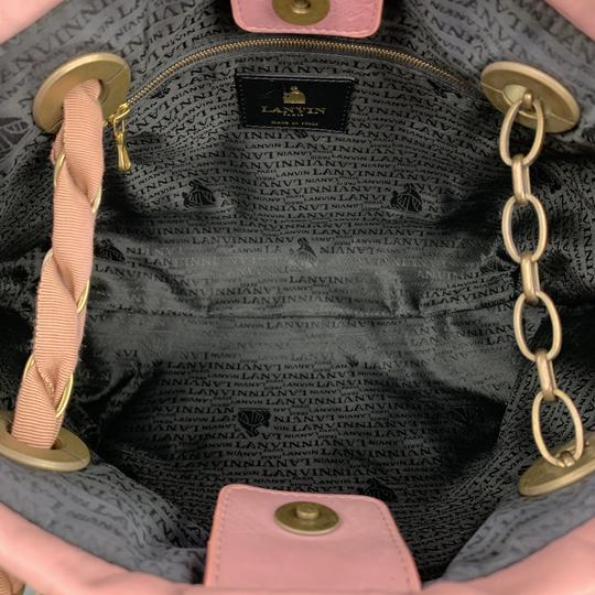 Lanvin Leather Grommets Italy Tote in Pink Image 9