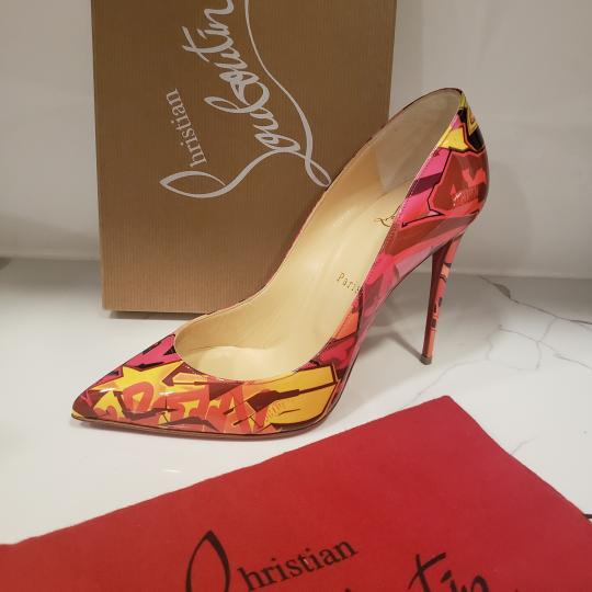 Christian Louboutin Stiletto Pigalle Follies Patent Orange, Red, Pink Pumps Image 11