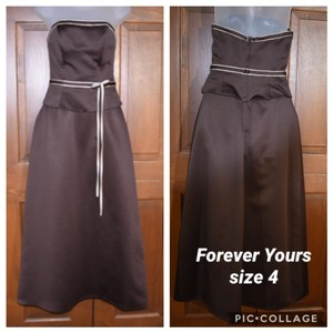 Forever Yours International Brown Chocolate Strapless Traditional Bridesmaid/Mob Dress Size 4 (S)