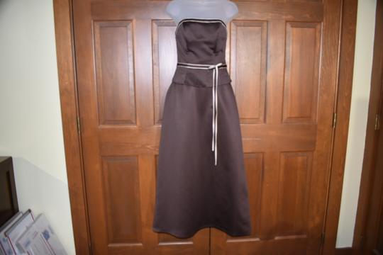 Forever Yours International Brown Chocolate Strapless Traditional Bridesmaid/Mob Dress Size 4 (S) Image 4
