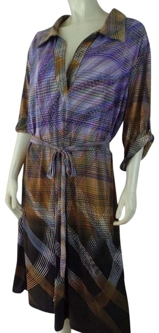 Item - Brown Tan Purples Pullover Stretch Abstract Lines Lightweight Mid-length Short Casual Dress Size 26 (Plus 3x)