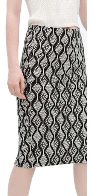 Zara Pencil Jacquard Front Slit Tribal Skirt Black Image 0