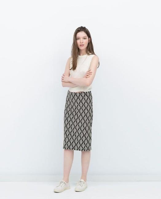 Zara Pencil Jacquard Front Slit Tribal Skirt Black Image 1