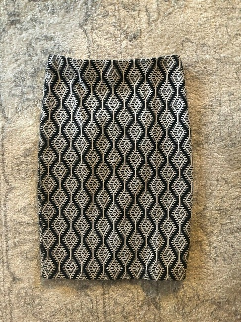 Zara Pencil Jacquard Front Slit Tribal Skirt Black Image 2