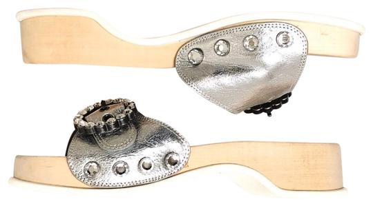 Marc Jacobs Silver, Wood, White Sandals Image 0