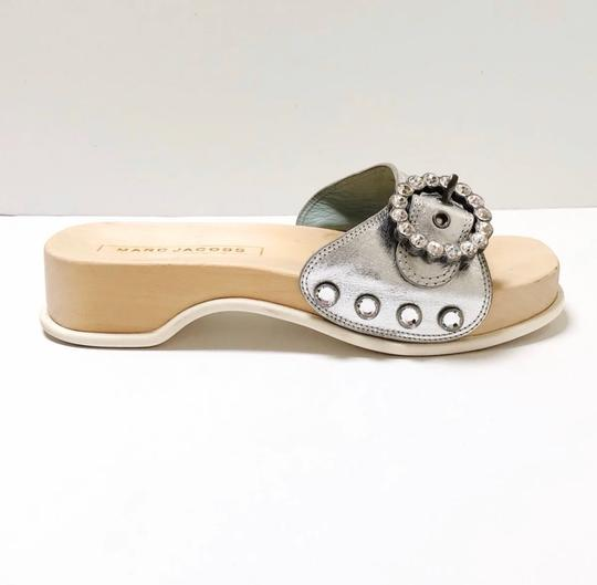 Marc Jacobs Silver, Wood, White Sandals Image 4