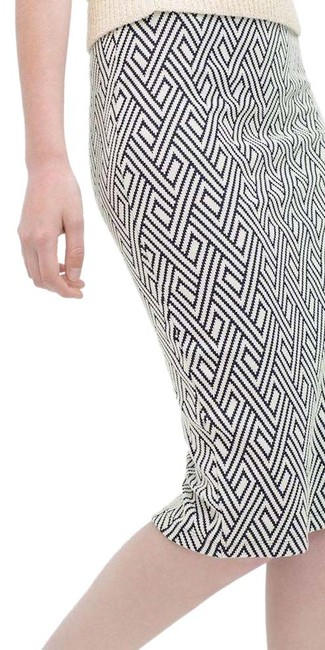 Zara Pencil Jacquard Front Slit Tribal Skirt Blue Image 0