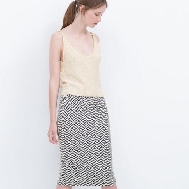 Zara Pencil Jacquard Front Slit Tribal Skirt Blue Image 2