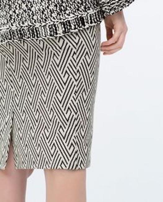 Zara Pencil Jacquard Front Slit Tribal Skirt Blue Image 3