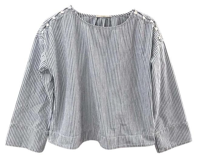 Preload https://img-static.tradesy.com/item/26250291/madewell-blue-striped-blouse-size-4-s-0-1-650-650.jpg
