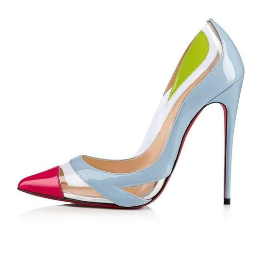 Christian Louboutin Stiletto Pvc Ankle Strap Patent Leather Cupidetta Blue, Pink, Green Pumps Image 1
