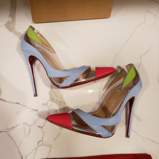 Christian Louboutin Stiletto Pvc Ankle Strap Patent Leather Cupidetta Blue, Pink, Green Pumps Image 4
