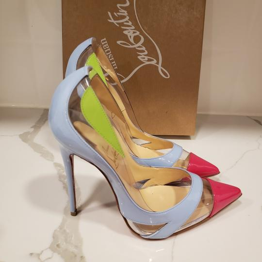 Christian Louboutin Stiletto Pvc Ankle Strap Patent Leather Cupidetta Blue, Pink, Green Pumps Image 5